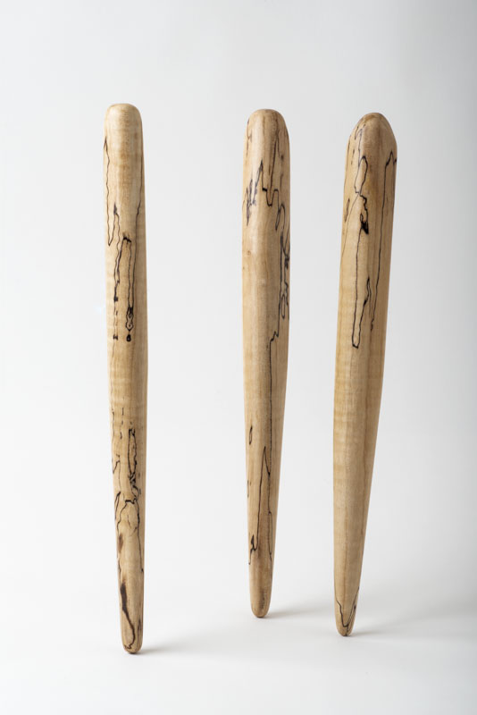 Three spirtles, or spurtles, in spalted birch