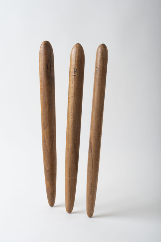 Three spirtles, or spurtles, in oak