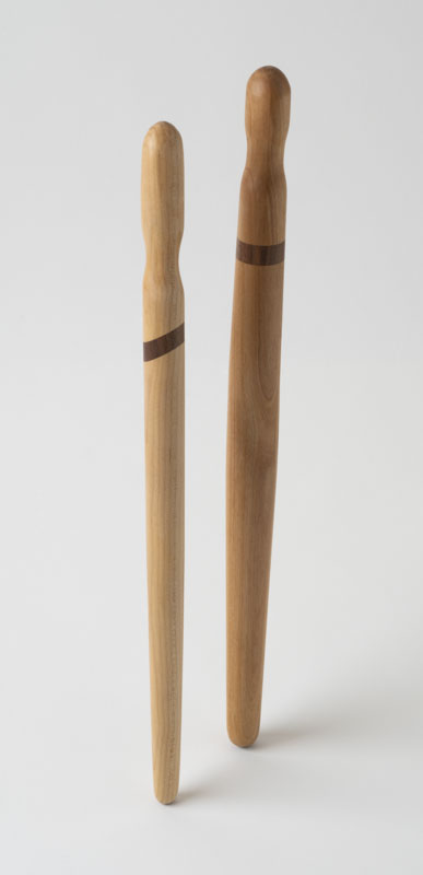Two spirtles, or spurtles, in birch and walnut
